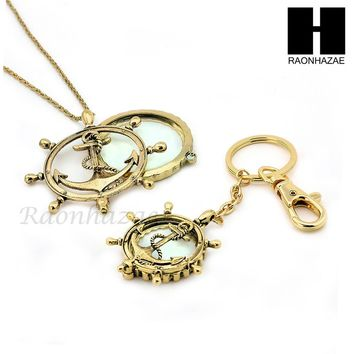 Gold Magnifying Glass Wheel with Anchor Key Chain & Pendant Chain Necklace Set SJ1G