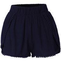 LE3NO Womens Loose Elastic Waist Summer Shorts (CLEARANCE)