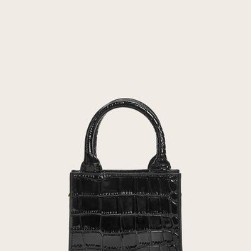 Croc Embossed Chain Satchel Bag