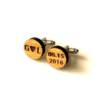 Personalized Wooden Cufflinks Custom Bride and Groom Initial Cuff Links Groomsmen Accessory Groom Gift Wedding Cufflinks Gift for Him