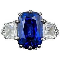 7.18 Carat No Heat Sapphire Diamond Platinum Ring