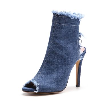Peep Toe Denim High Heel Stiletto Heel Shoes Woman 9648