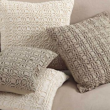 Canberra Smocked Cotton Pillows