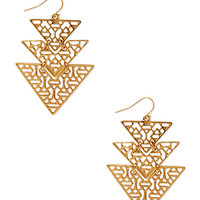 FOREVER 21 Cutout Geo Drop Earrings Gold One
