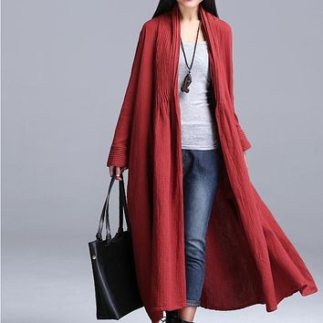 Spring Cotton Linen Open Stitch Outerwear Plus Size Casual Women's Clothing Long sleeve trench Coat QS475