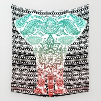 Indian Painted Elephant Wall Tapestry by Inspired Images