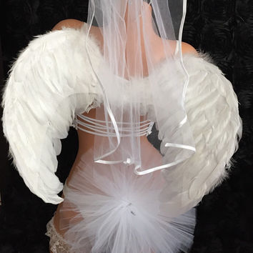 Feather Angel Wings Bachelorette Party Tutu Halo Headband Bridal Bikini Veil Booty Veil Black Pink Bride To Be Sash White Wedding Lingerie