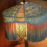 Victorian Lamp Shade With Antique Teal Lace From Old Dress | Victorianology - Housewares on ArtFire