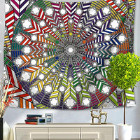 Primary Color Blocks Mandala Bed Wall Tapestry