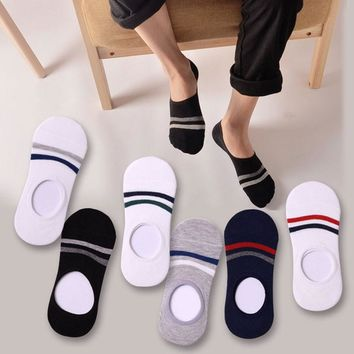 5Pair 2017 Striped Women's Socks Fashion Funny Non-Slip Invisible No Show Socks Summer Style Female Slippers Shallow Mouth Socks