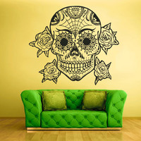 Wall Decal Mural Sticker Beautyfull Cute Sugar Skull Bedroom Curly Menhdi fashion (z2061)