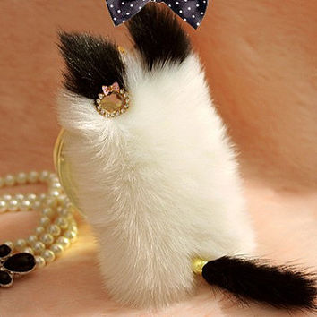 Cute Cat Fluffy Style Fur Case for Iphone 4 / 4s / 5 by trendding
