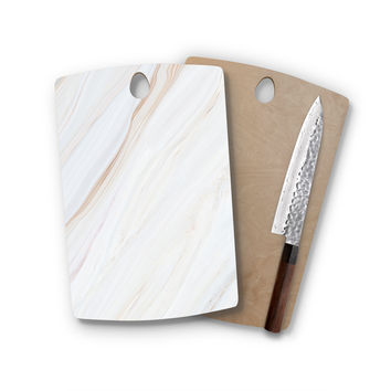 Ivory Tan Agate Marble Rectangle Wood Cutting Board Trendy Unique Home Decor Cheese Board