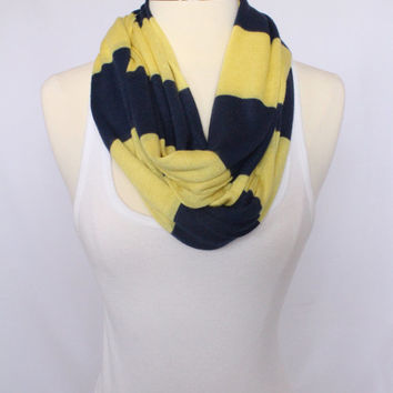 Knit Fabric Infinity Scarf - Navy and Gold Striped