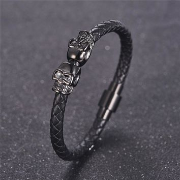 Jiayiqi Fashion Black Leather Bracelet for Men Jewelry Punk Skull Stainless Steel Beads Bangle Magnetic Buckle Gold Black Silver