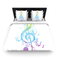 "Frederic Levy-Hadida ""Rainbow Key"" Multicolor Music Woven Duvet Cover"
