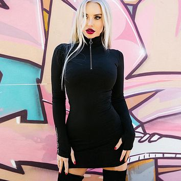 Fashion Personality Zip Turtleneck Letter Long Sleeve Bodycon Mini Dress