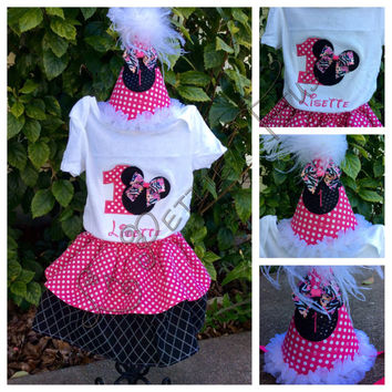 Custom birthday outfit wih part hat, cotton skirt, embroidered shirt, photo prop, cake smash set, custom made, handmade, costume dress up