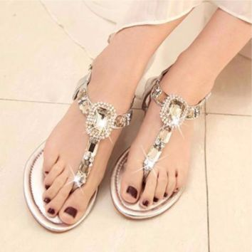 SILVER RHINESTONE BOHEMIAN LARGE JEWEL WOMENS SANDALS