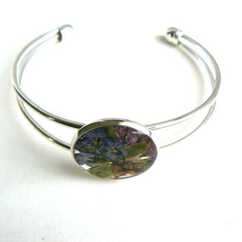 Real Flower Bracelet, Forget me nots and Tiny Pressed Flowers Preserved in Resin in Silver Cuff Bracelet. For Gardeners and Nature Lovers