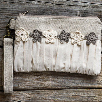 Eco friendly Ruched Clutch with Crochet Flowers in Natural White Cotton and Natural Grey Linen, Shabby Chic Cosmetic Bag, French Country
