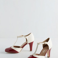 Menswear Inspired Vivacious Vibes Heel in Crimson by Chelsea Crew from ModCloth