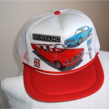 '65-66 Mustang in 3 - D graphics on a new white mesh cap w/red trim