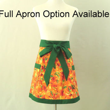 Womens Peaches Apron,  Peach Half Apron, Peach Full Apron, Fruit Apron, Peach Kitchen Decor, Orange Kitchen Apron, Peach Bridal Shower Gift