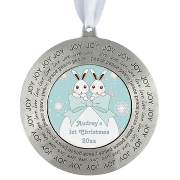 Cute Twin Bunnies and Snowflakes Kids Christmas Round Pewter Christmas Ornament