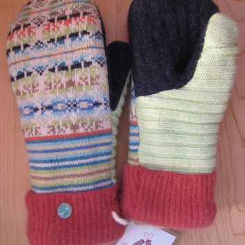 Sweaty Mitts - Upcycled Sweater Mittens - - Women's WARM Recycled - Handmade in Wisconsin - Green Orange Navy Blue Brown Fair Isle