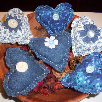 Country Blue HEART BOWL FILLERS, Ornaments, Handmade Primitive, Rustic, Shabby Chic, Cottage Chic, Scented in Lavender, Vanilla, or Cinnamon