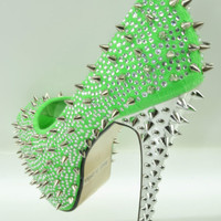 Kiss Kouture Galaxy Green Spiked Rhinestone Platform Shoe Mirrored Heel Mint