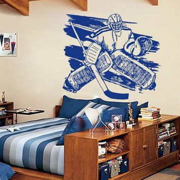 ik559 Wall Decal Sticker roller hockey stick goalie stick puck sport team game