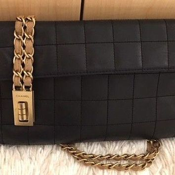 Authentic CHANEL Black Soft Leather Tote Gold Tone Chain w Brown Leather Woven