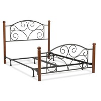 King Size Complete Metal Bed Frame with Wood Post Headboard & Footboard in Matte Black Finish