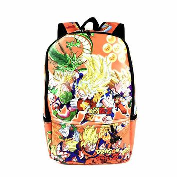 High Quality PU Full Leather Dragon Ball Z Backpack Anime Cartoon School Bag For Young