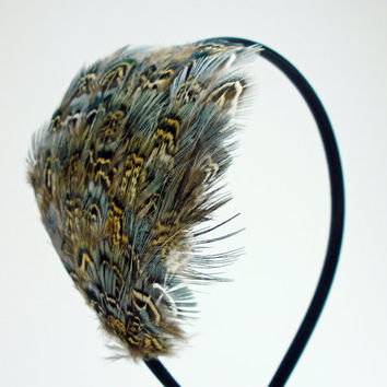 Boho Feather Headband, 1920s flapper costume, Great Gatsby, hippie headband, Pheasant feather hair fascinator, feather accessories