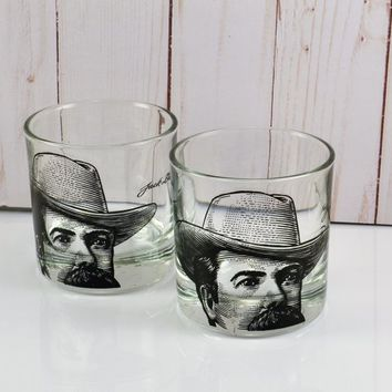 2 Jack Daniels Rock Glasses Jack Daniels Portrait Glass HTF JD Picture Black Clear Weighted Whiskey Bourbon Barware