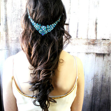 Prom Hair Jewelry, Prom Jewelry, Prom Headpiece, Blue Jewelry, Indian Jewelry, Blue Accessories, Blue Hair Jewelry, Pagenet Jewelry