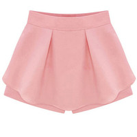 Summer Solid Color Elegant Side Zipper Ruffled Skirt Shorts Culottes