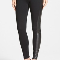 Women's kensie Faux Leather Trim Ponte Leggings