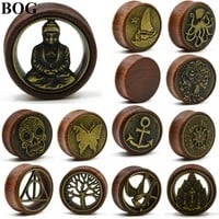 1Pair Double Flared Wood Ear Tunnels Plugs Buddha Gauge Expanders Tree Of Life Ear Taper Stretcher Piercing Earring Body Jewelry