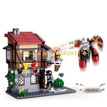 Sluban 0618 376pcs Ninja Armor Assassins Creed Medieval Castle Town Tavern Building Block
