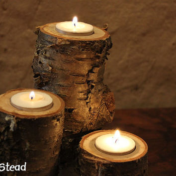 log candles rustic wedding cabin decor table by homenstead