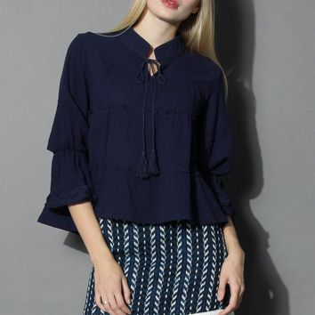 Tiered Dolly Crop Top in Navy