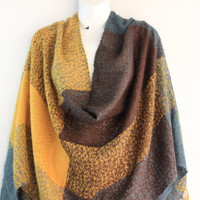 Knitted Blanket Scarf, Chunky Knit Scarf, Oversized Scarf, Shawl, Fall Scarf, Poncho, Mustard Scarf, Knit Fringe End Scarf