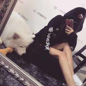 DCCKH3L Chrome Hearts' Women Casual Personality Horseshoe Letter Print Loose Long Sleeve Pullover Hooded Sweater Tops