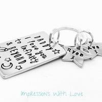 Personalised keyring /keychain - gifts for dad /him - i love you to infnity and beyond - kids names - fathers day gift - hand stamped
