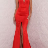 HOT RED LONG FORK SEXY STRAPS DRESS