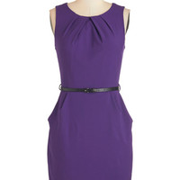 ModCloth Mid-length Sleeveless Sheath Myriad Moods Dress in Grape